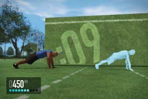 A tela do game, de um lado o personal virtual, de outro a detecção de seus movimentos.